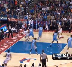 Chris Paul amazing spin move on baseline on Evan Fournier