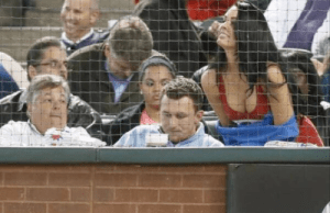 JOhnny Manziel Hot Brunette Texas Rangers Game