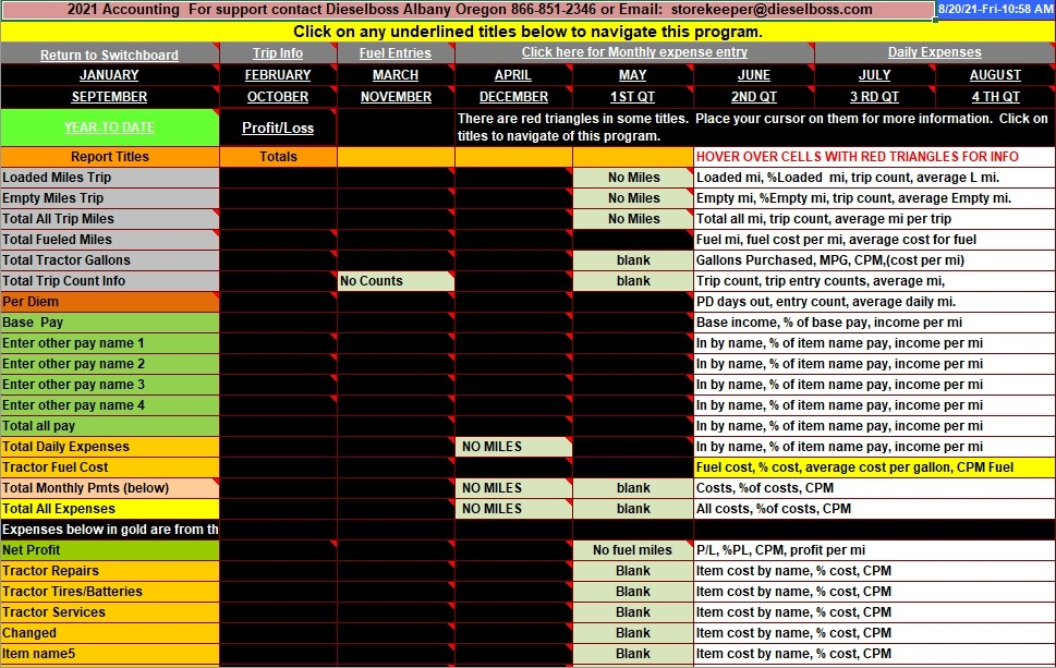 Truck driver accounting software spreadsheet program from Dieselboss - excel small business accounting software free
