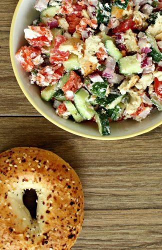 Smoked Salmon and Veggie Panzanella Salad