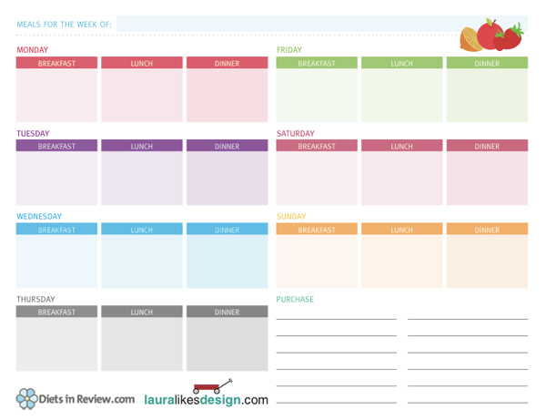 3 Free Weekly Meal Planner Worksheets to Organize Healthy Homemade Food
