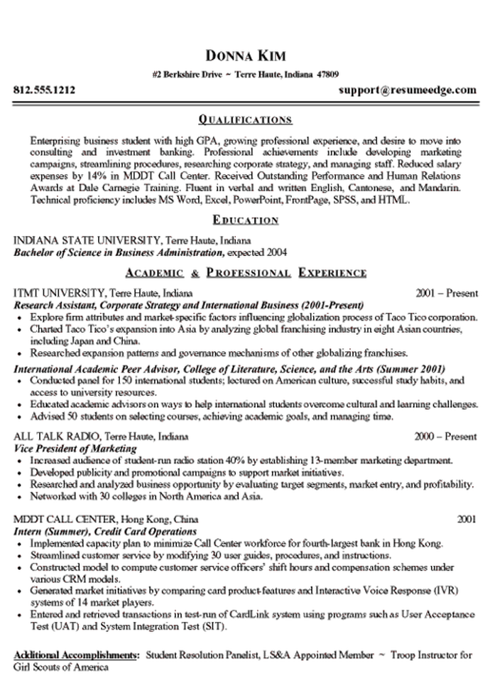 resume template for college sophomore
