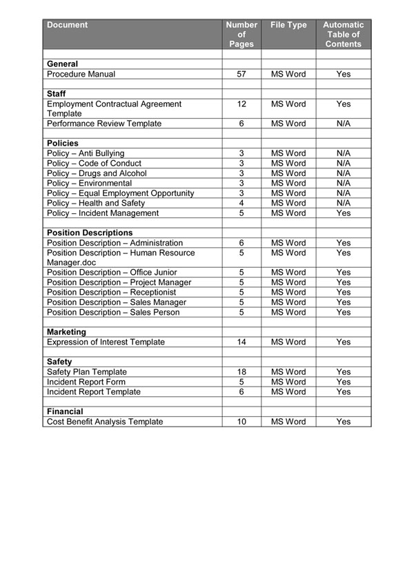 Quality Manual Template Download Now Digital Documents Direct