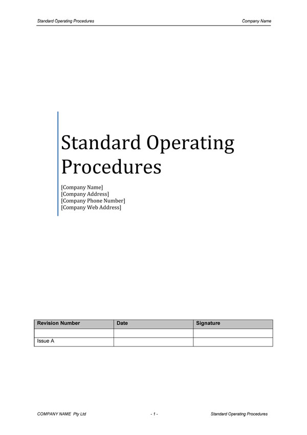Standard Operating Procedure Template Download Digital Documents - manual cover page template