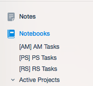 Three project setup for Evernote as a task manager.