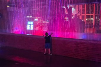 The dancing fountain at Station Square is a major attraction for young people. July 2015.