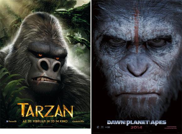 Charakterposter Tarzan und Planet der Affen Revolution