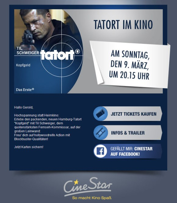 Screenshot Newsletter CineStar