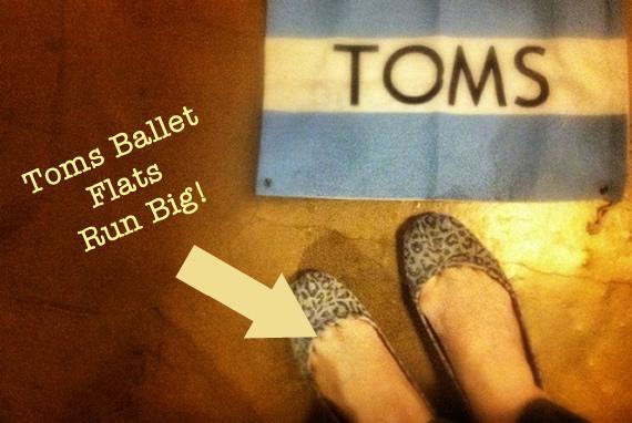 toms ballet flats run big