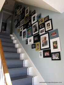 Stairs featuring a photo wall gallery