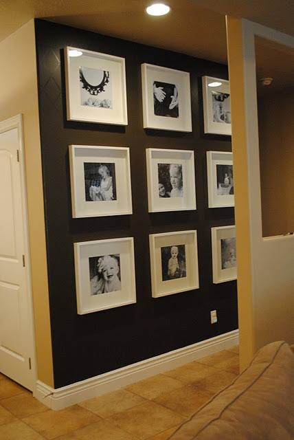 Photo wall idea for a black wall