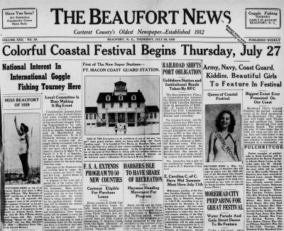 Newspapers From Beaufort And Morehead City 1920s 1940s