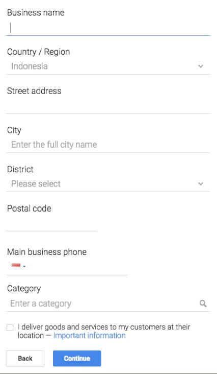 Google business form