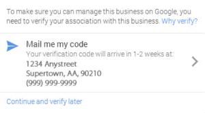 Google business verification