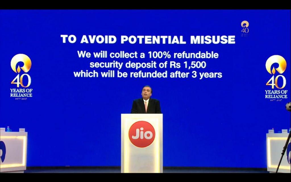 Jio Phone Rs 1500 refund