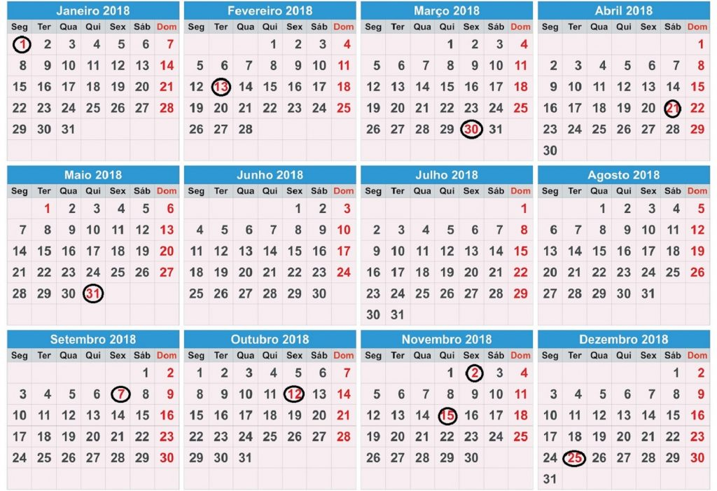 Calendarios 2018 Bolivia - calendrier