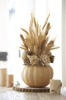 Dried Wheat Stems And Faux Flowers In Beige And Brown Tones Could Be