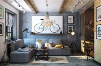 Cozy Industrial Living Room Design In Grey Tones - DigsDigs