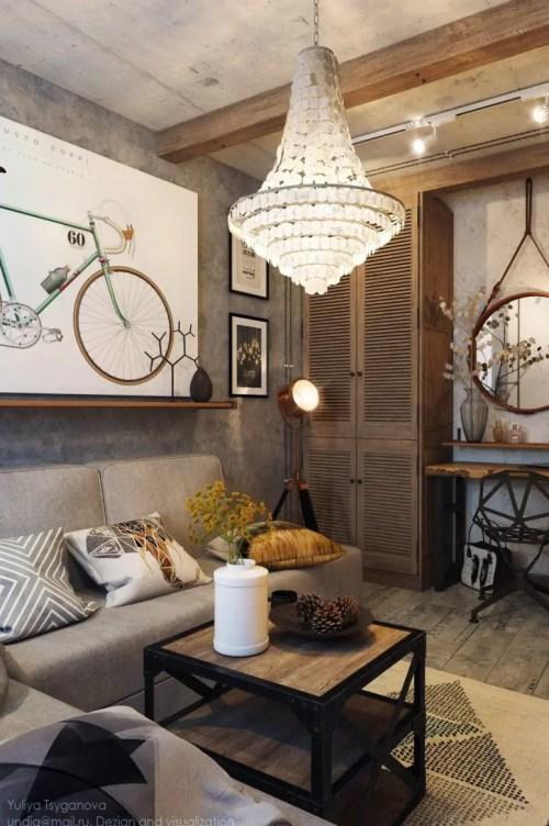 Medium Of Industrial Living Room
