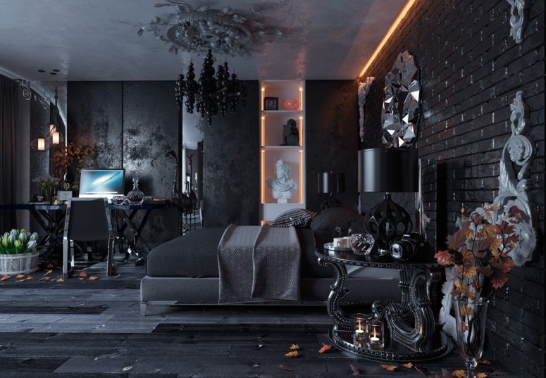 Glam Fall Background Wallpaper All Black Modern Gothic Bedroom Design Digsdigs
