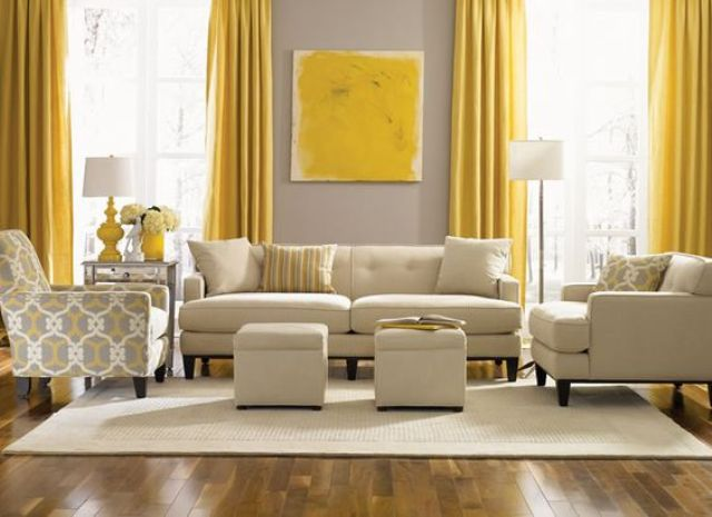 29 Stylish Grey And Yellow Living Room Décor Ideas - DigsDigs - yellow and grey living room