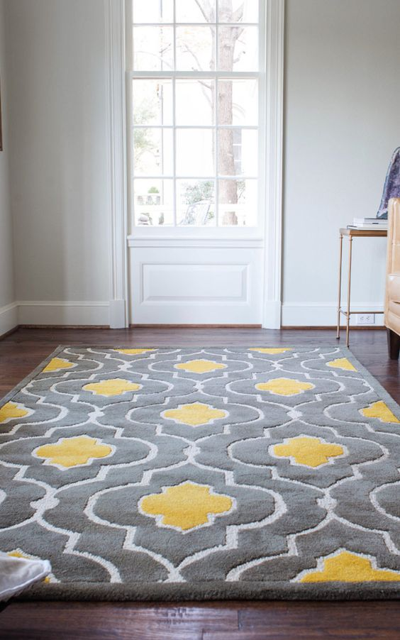 29 Stylish Grey And Yellow Living Room Décor Ideas - DigsDigs - grey living room rug