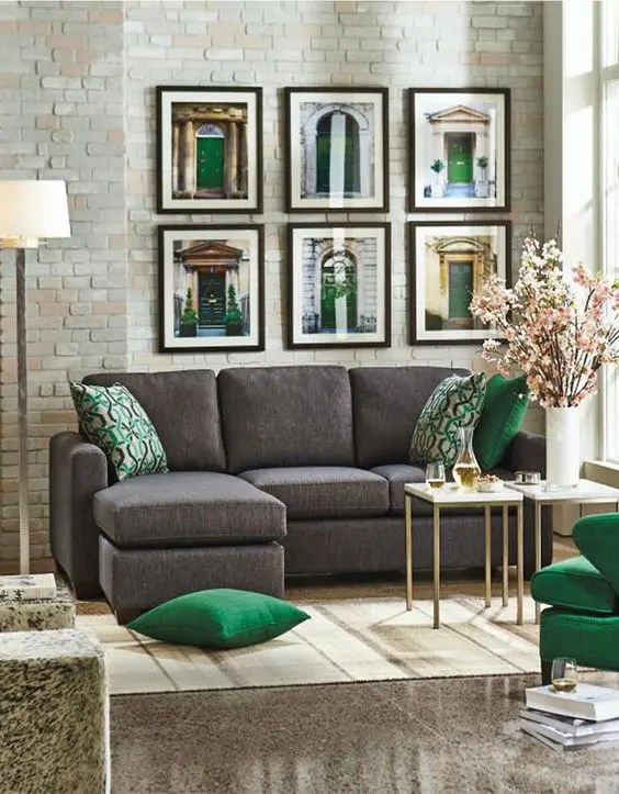 30 Green And Grey Living Room Décor Ideas - DigsDigs - gray and gold living room