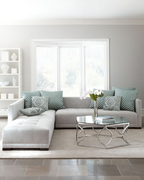 30 Green And Grey Living Room Décor Ideas - DigsDigs - gray couch living room