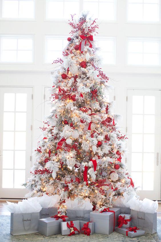 red white christmas tree pinchristmascom