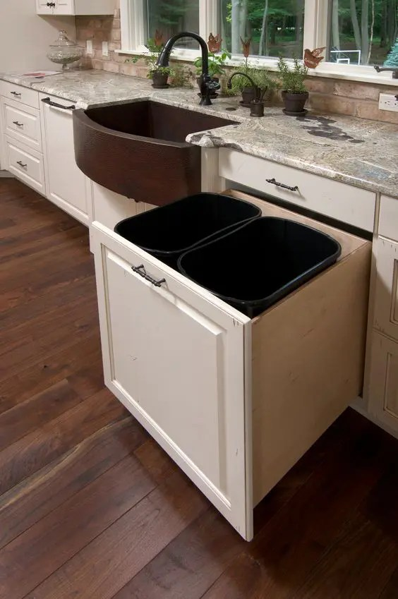 29 Sneaky Ways To Hide A Trash Can In Your Kitchen
