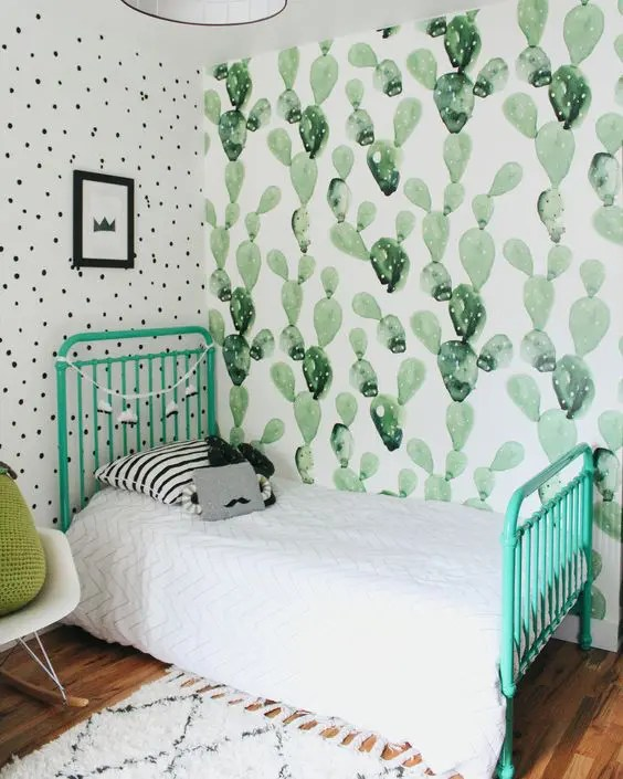 Baby Girl Nursery Removable Wallpaper 24 Quirky Cactus Home Decor Ideas Digsdigs
