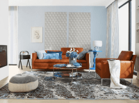 Contemporary Living/Dining Room Design With Rust And Blue ...