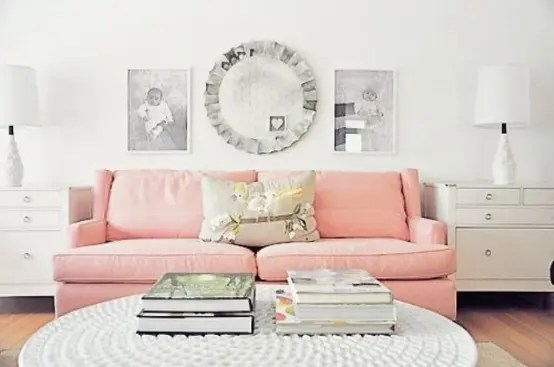 31 Affectionate Peach Accents In Home Décor - DigsDigs - peach living room