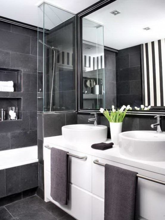 71 Cool Black And White Bathroom Design Ideas - DigsDigs - gray and white bathroom ideas