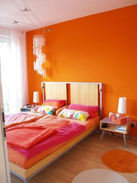Girls Pink Bedroom Wallpaper 30 Inspiring Ripe Orange Room Designs Digsdigs