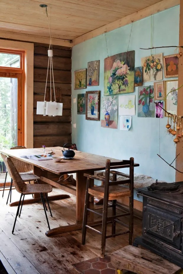 calm and airy rustic dining room