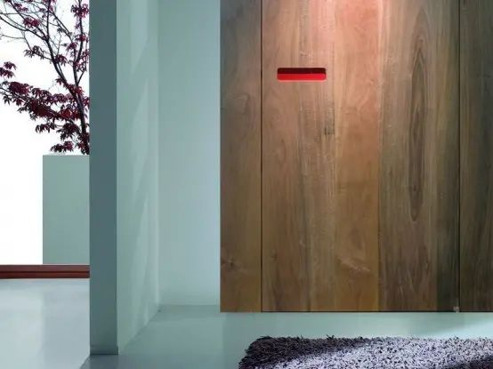 Innovative interior wooden doors with no handle opening