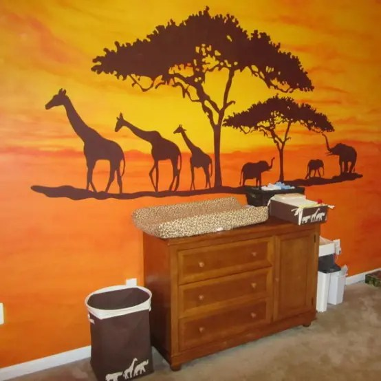 Girls Wallpaper Mural 25 Cool Jungle Inspired Kids Room Designs Digsdigs