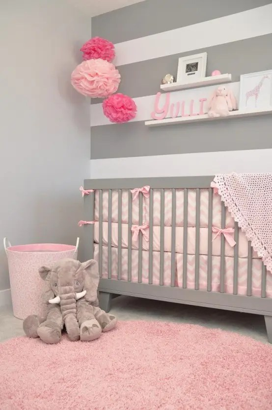 Pale Pink Wallpaper For Girl Nursery Metallic Grey And Pink 27 Trendy Home Decor Ideas Digsdigs