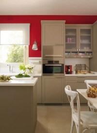Modern Beige Kitchen Design With Red Walls | DigsDigs