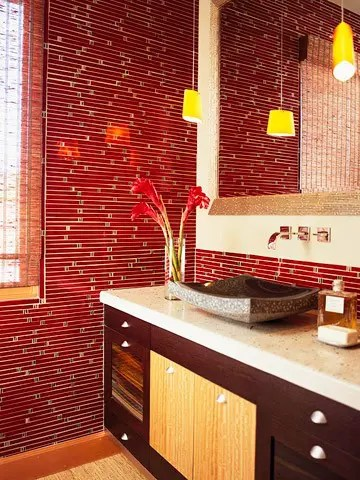 39 Cool And Bold Red Bathroom Design Ideas - DigsDigs - red bathroom ideas