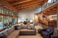 clerestory windows Living Room Contemporary with accent