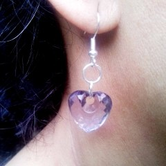 Round Heart plastic Diamond Earrings