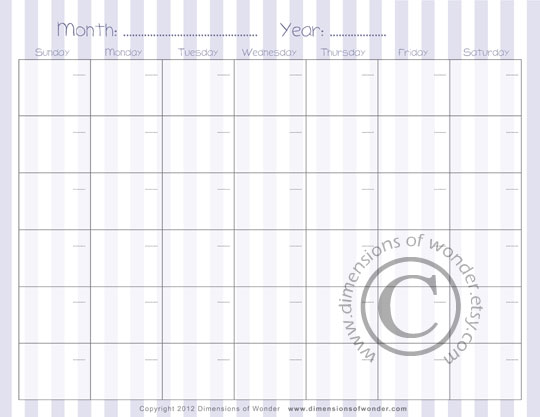 Free Printable Monthly Calendar n°2 by Dimensions of Wonder - free printable monthly calendar