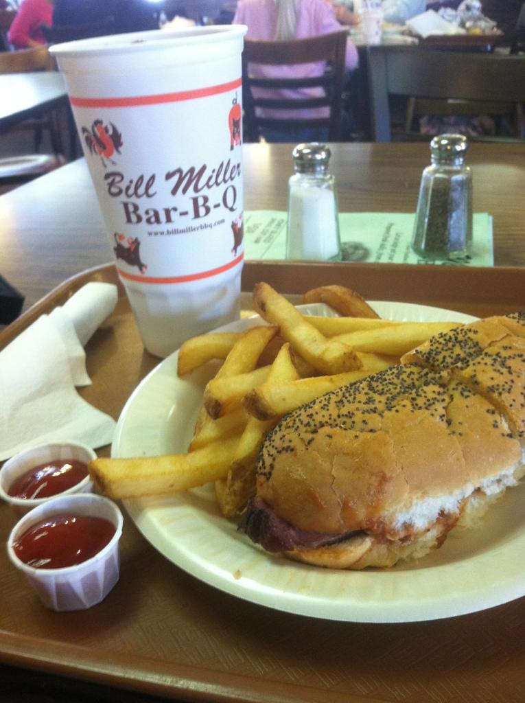Bill Miller Bar-B-Q \u2013 #1 Combo (Po-Boy Brisket Sandwich) Dine at Joe\u0027s