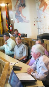 (L-R) Navajo Nation Council Delegate Edmund Yazzie sponsored a presentation on Na'Nizhoozhi Center Inc. to the Naa'biki'yati' Committee from NCI Clinical Director Kevin Foley, Director Jay Azua and Gallup City Mayor Jackie McKinney in Window Rock, Ariz., on June 27, 2013. Photo by Marley Shebala