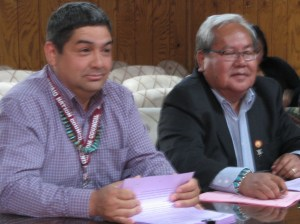 Anthony Peterman, energy advisor to Navajo Council Speaker Naize, and Speaker Naize. Photo by Marley Shebala