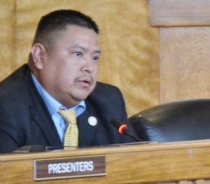 Navajo Council Delegate Alton Shepherd sponsored Legislation 0069-14, the removal of Delegate Naize as speaker because of 12 criminal charges for the alleged funneling of $37,500 in tribal emergency assistance funds to him and his family. Photo by Marley Shebala