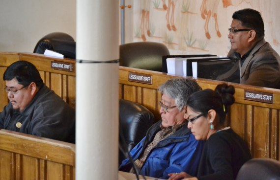 "Concerned individuals and groups report to the Navajo Council Health, Education and Human Services Committee on the ""imminent threat of uranium mining"" at the Navajo Council chamber in Window Rock, Ariz., on April 2, 2014. Photo by Marley Shebala"