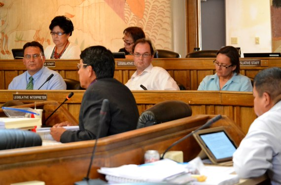 Navajo Nation legislative staff sit behind Delegate Dwight Witherspoon and tribal Justice Department attorneys Paul Spruhan, and Tamsem Holms. Photo by Marley Shebala. (Please provide proper photo credit when reusing photo.)